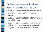 differences between business and tech comm in the us