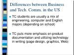 differences between business and tech comm in the us4