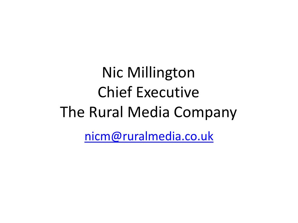 nic millington chief executive the rural media company l.