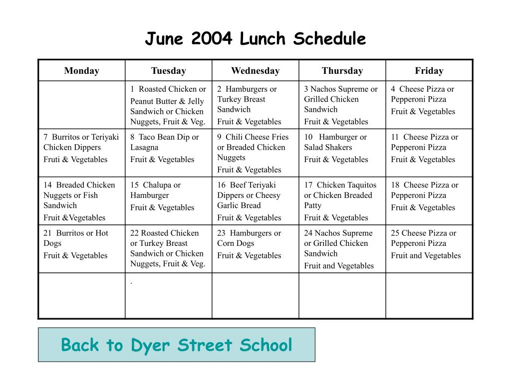 june 2004 lunch schedule l.