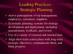 leading practices strategic planning