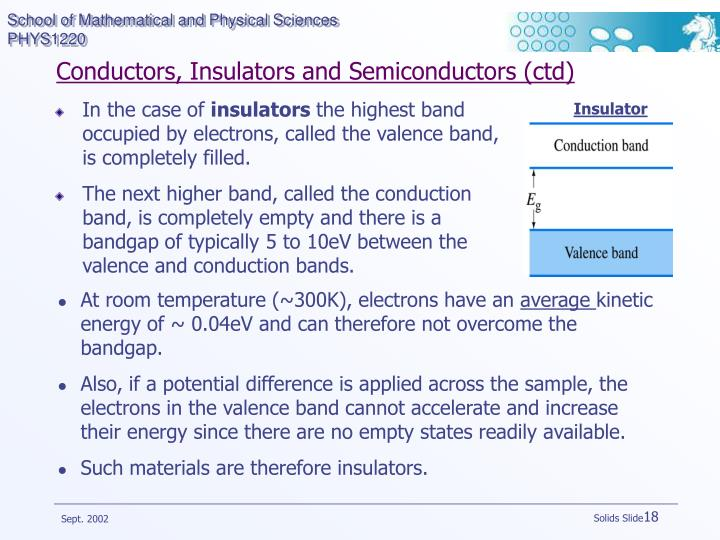 Conductors, Insulators and Semiconductors (ctd)