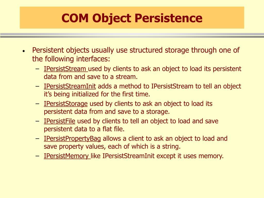 COM Object Persistence