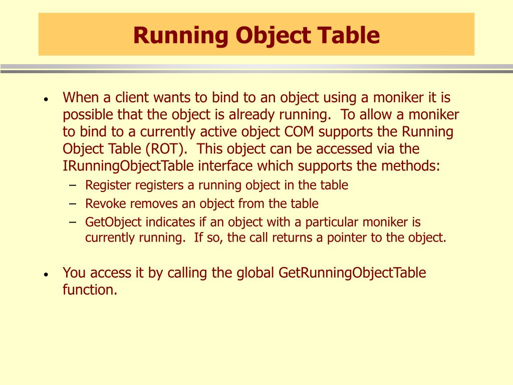 Running Object Table