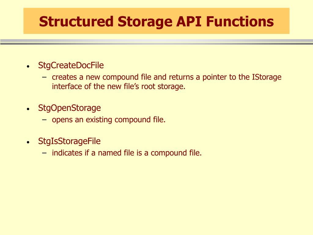 Structured Storage API Functions