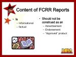 content of fcrr reports8