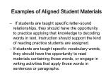 examples of aligned student materials