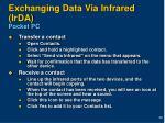 exchanging data via infrared irda pocket pc