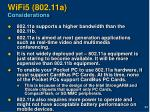 wifi5 802 11a considerations