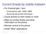 current threats by mobile malware