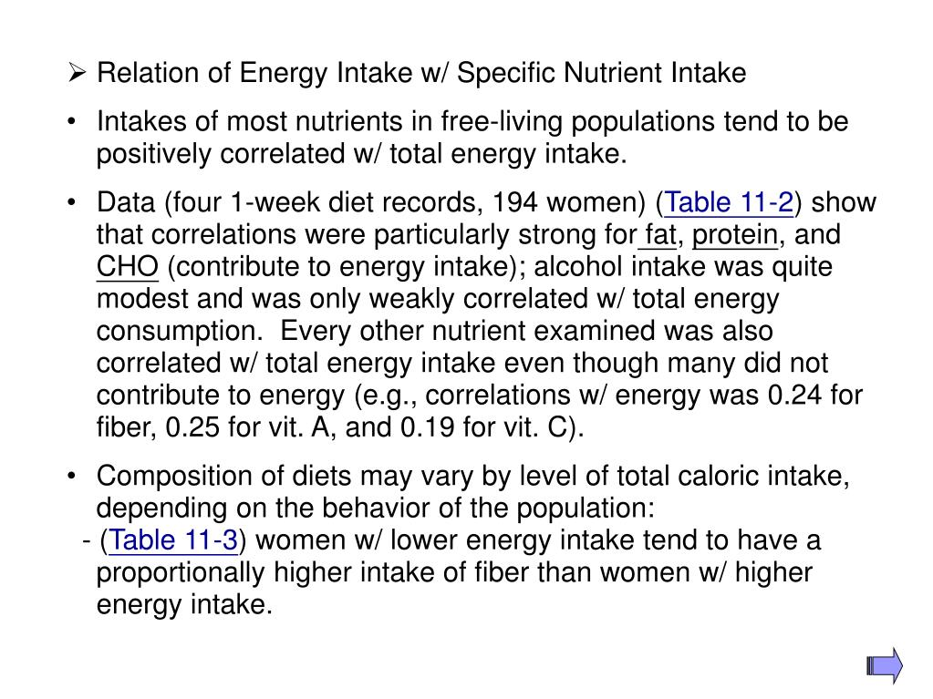 Relation of Energy Intake w/ Specific Nutrient Intake