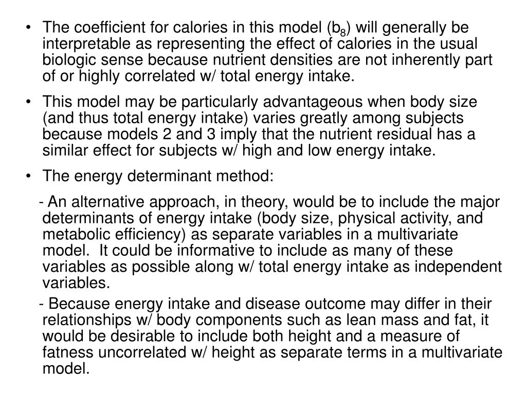 The coefficient for calories in this model (b