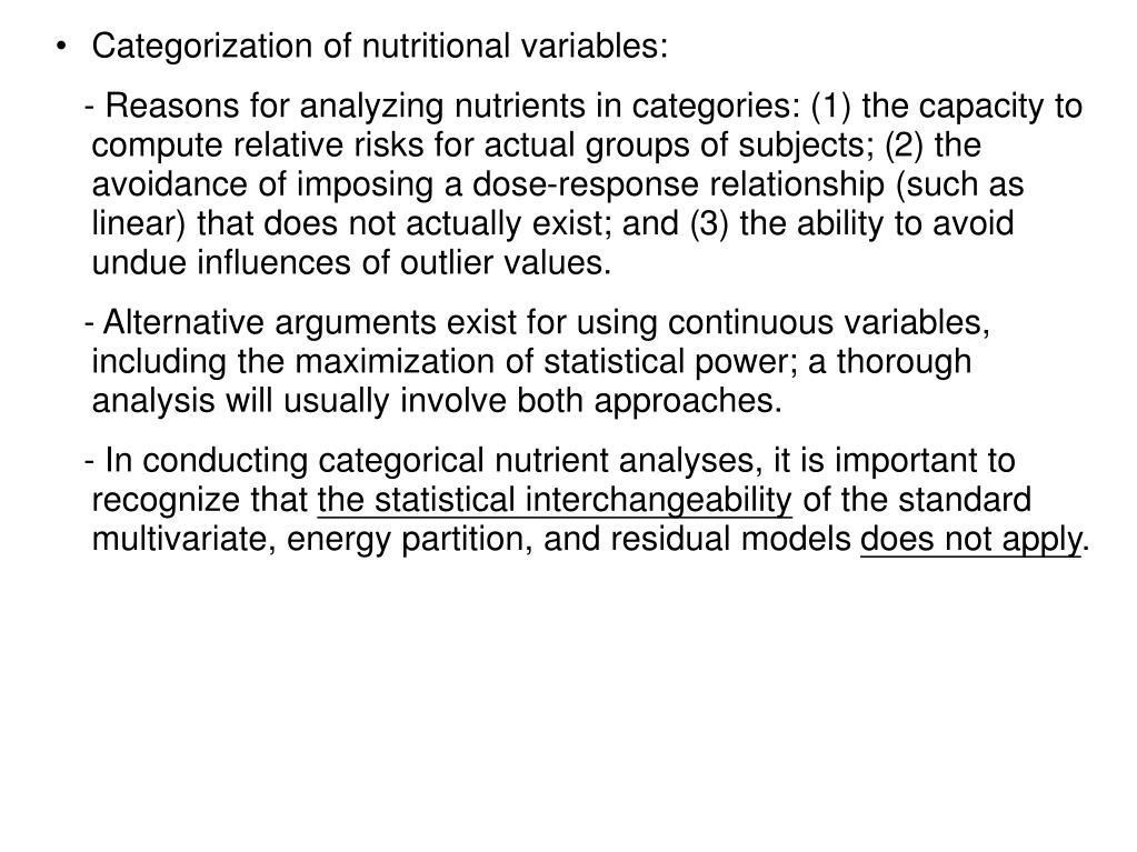 Categorization of nutritional variables: