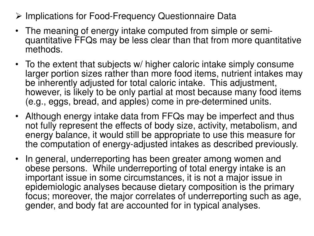 Implications for Food-Frequency Questionnaire Data