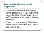 can mobile phones crash airplanes