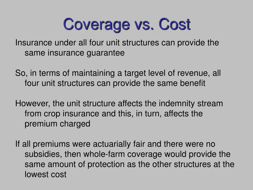 Coverage vs. Cost