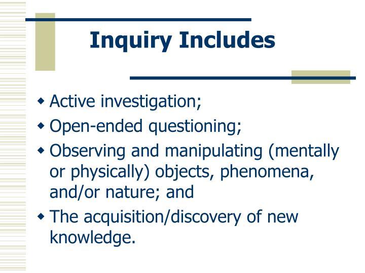 Inquiry Includes