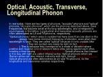 optical acoustic transverse longitudinal phonon