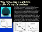 very high energy resolution spherical crystal analyzer