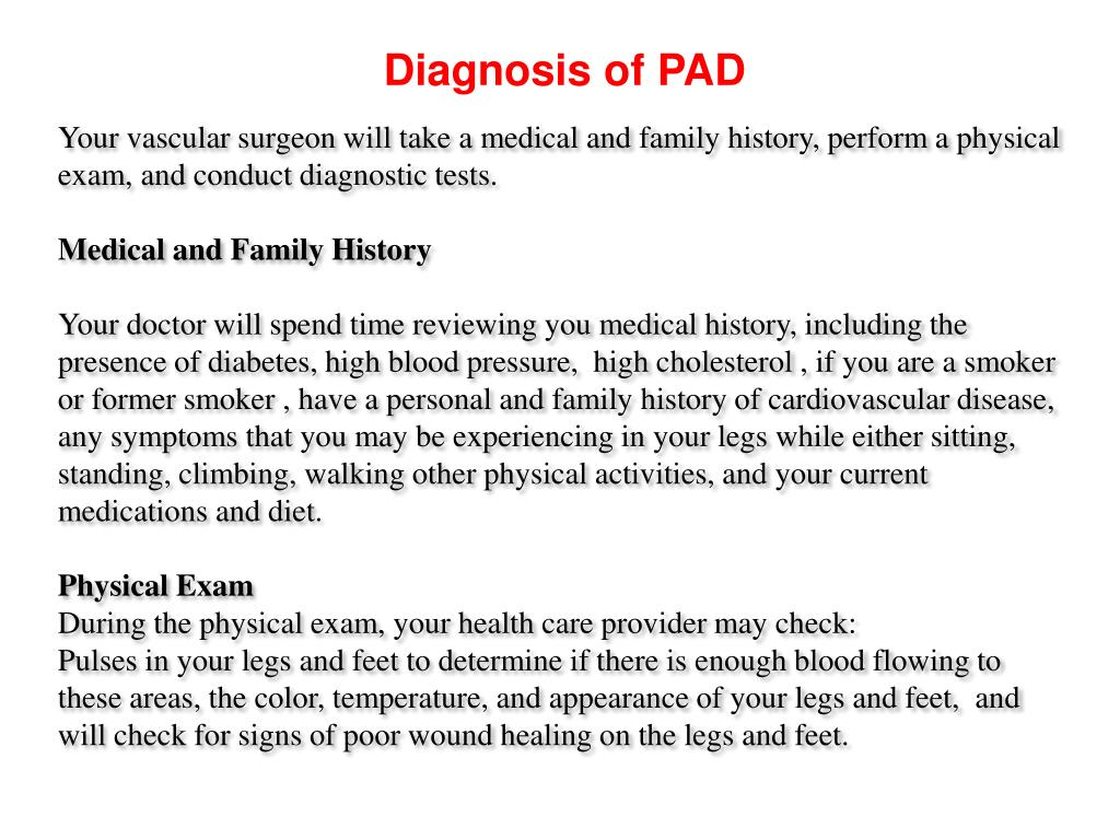 Diagnosis of PAD