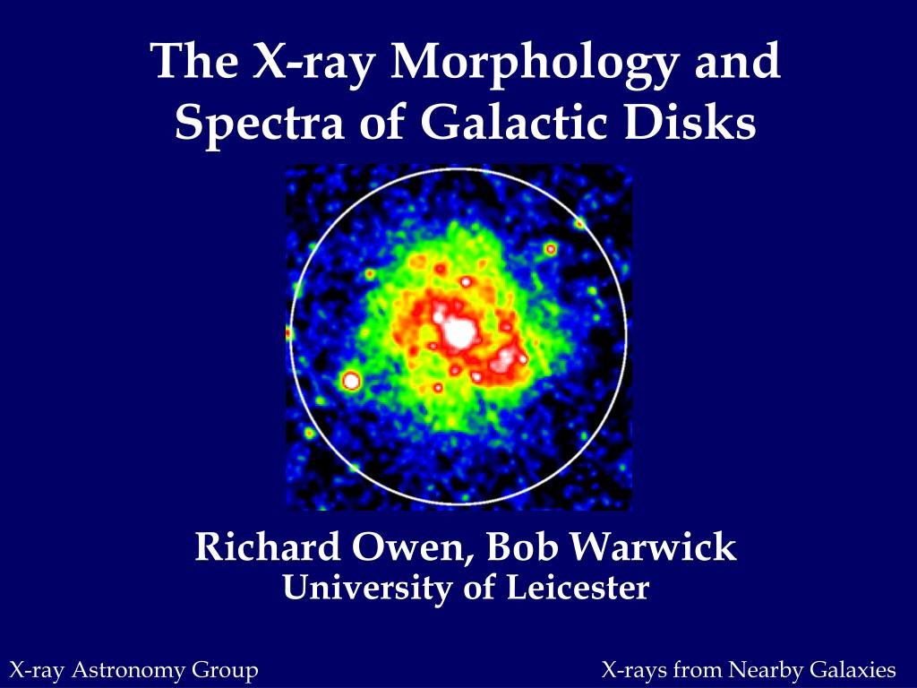 the x ray morphology and spectra of galactic disks l.