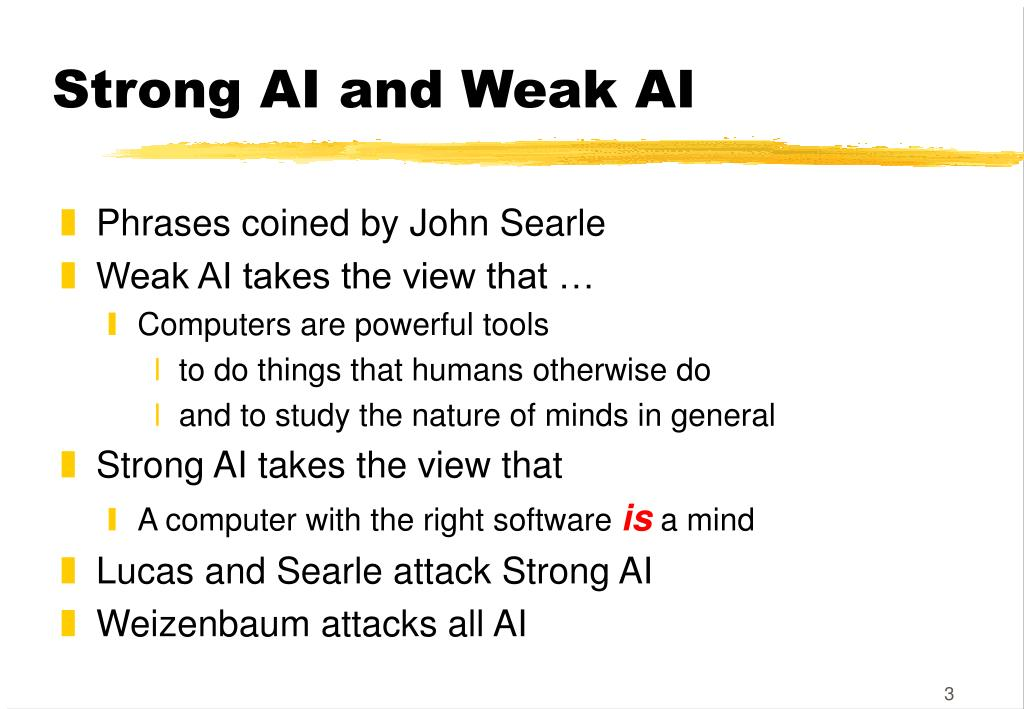 Strong AI and Weak AI
