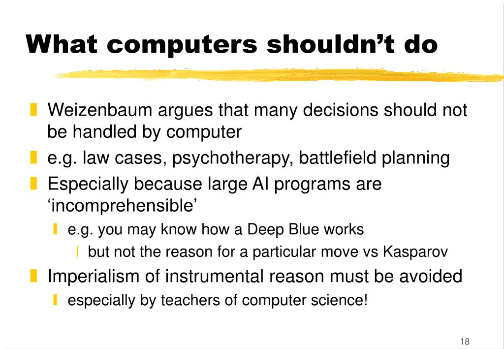 What computers shouldn't do