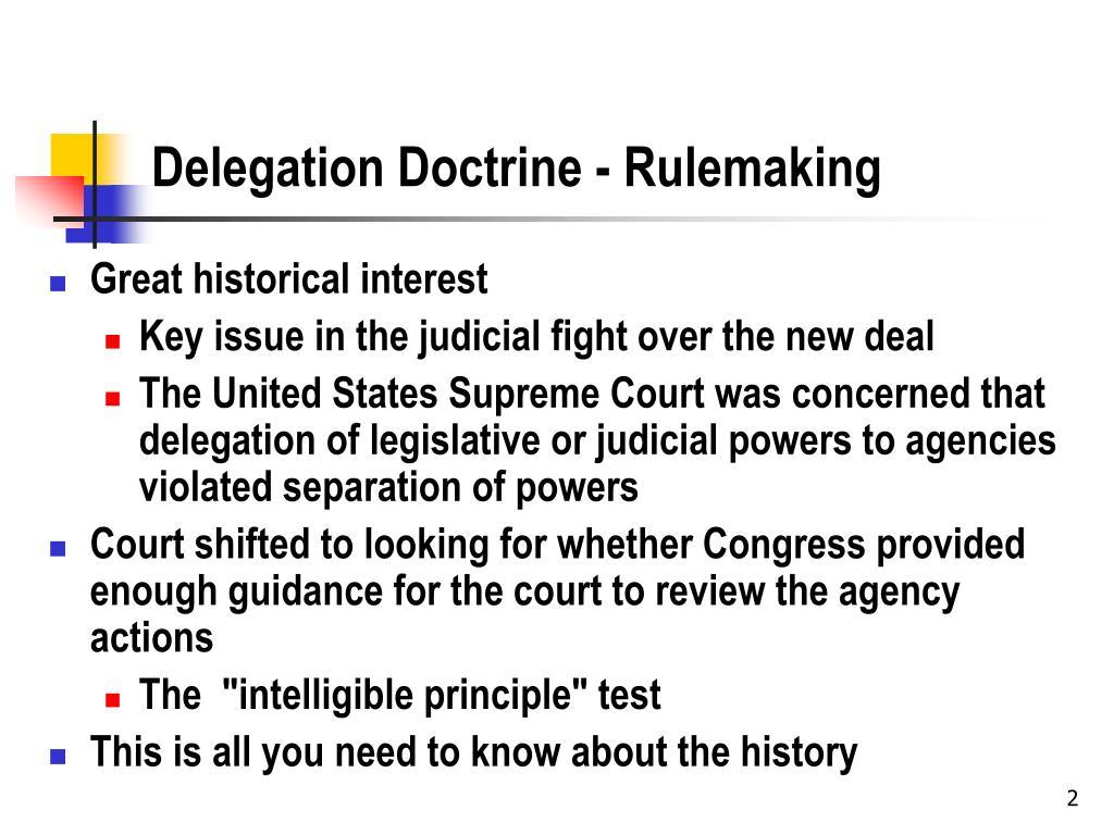 Delegation Doctrine - Rulemaking