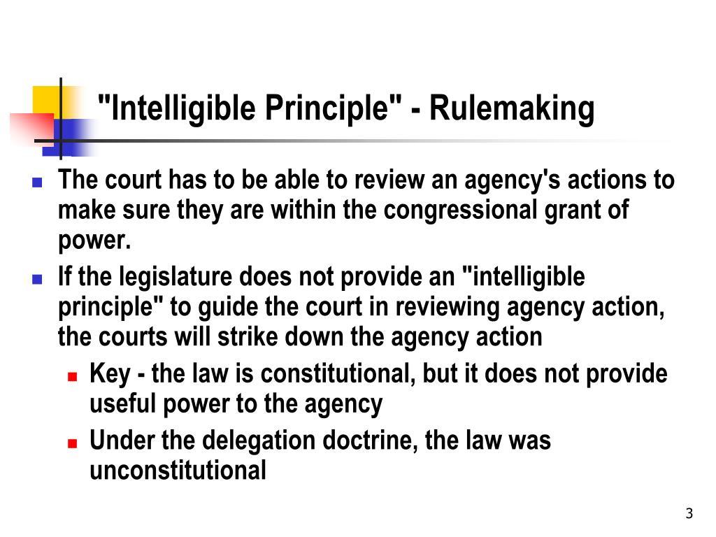 """Intelligible Principle"" - Rulemaking"