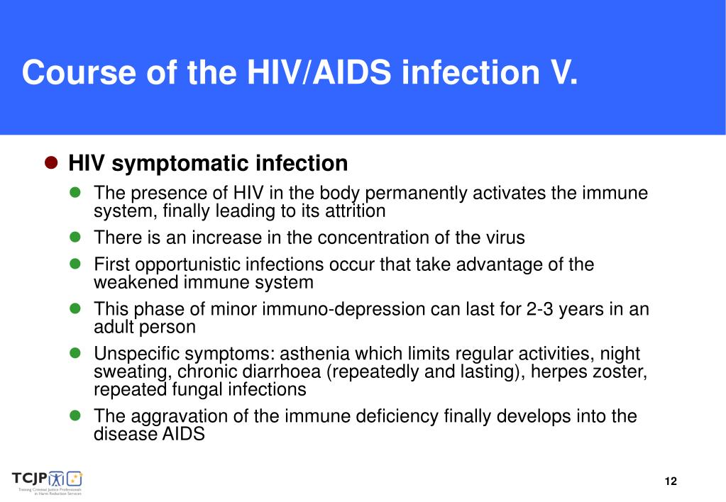 Course of the HIV/AIDS infection V.