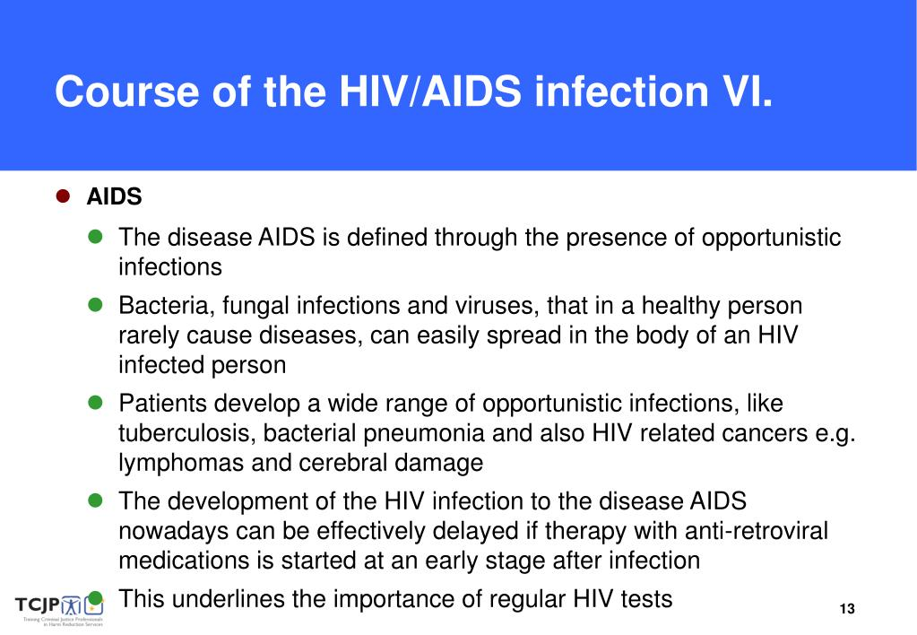 Course of the HIV/AIDS infection VI.