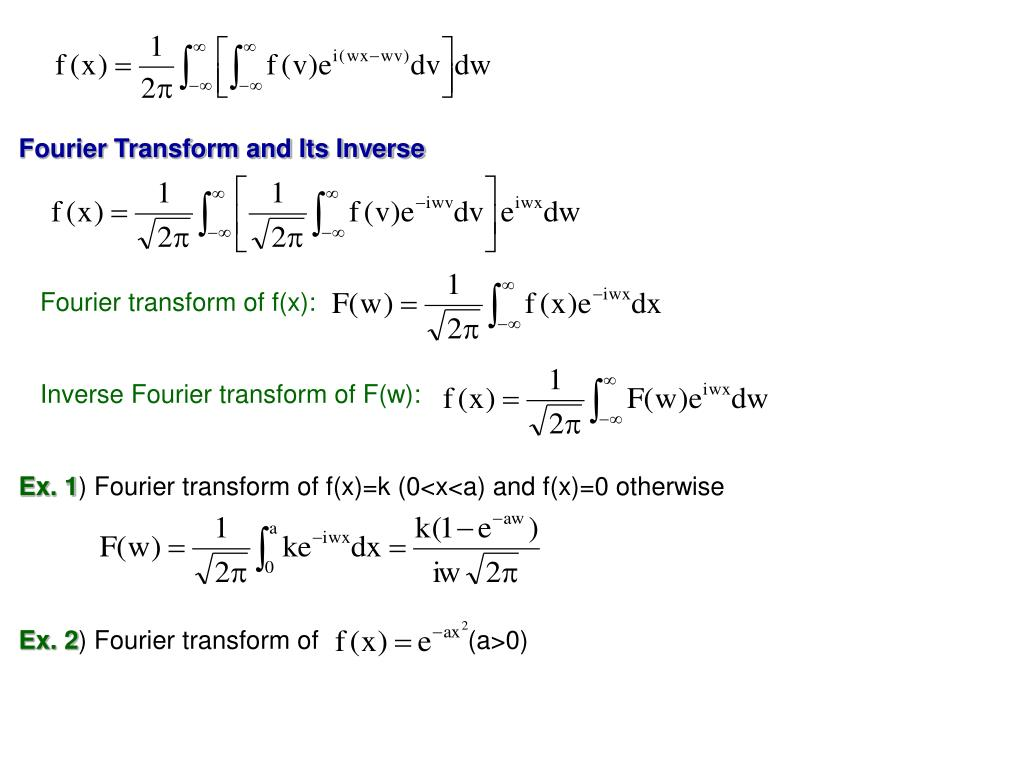 Fourier Transform and Its Inverse
