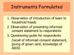 instruments formulated