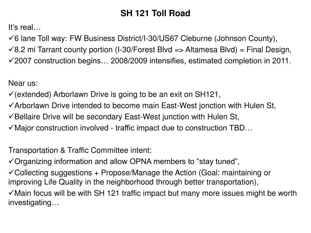 sh 121 toll road l.