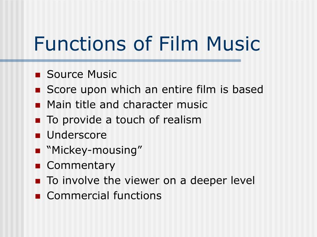 functions of film music Tagg, philip - functions of film music - download as pdf file (pdf), text file (txt) or read online.