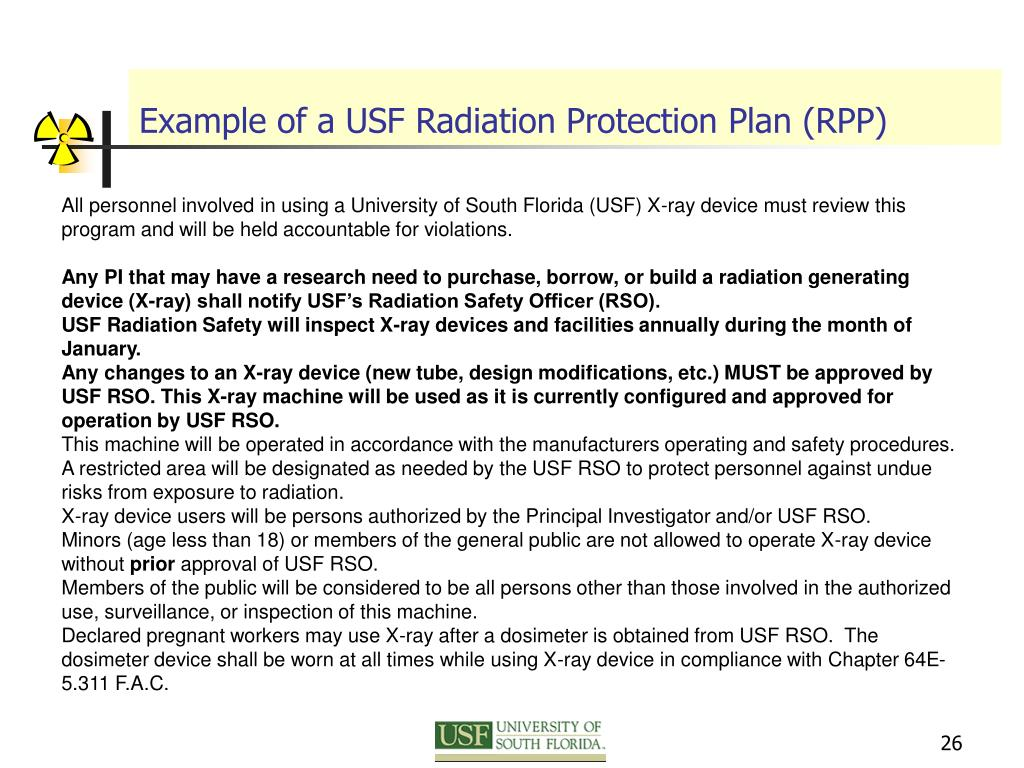 Example of a USF Radiation Protection Plan (RPP)
