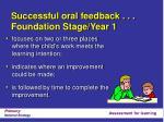 successful oral feedback foundation stage year 1