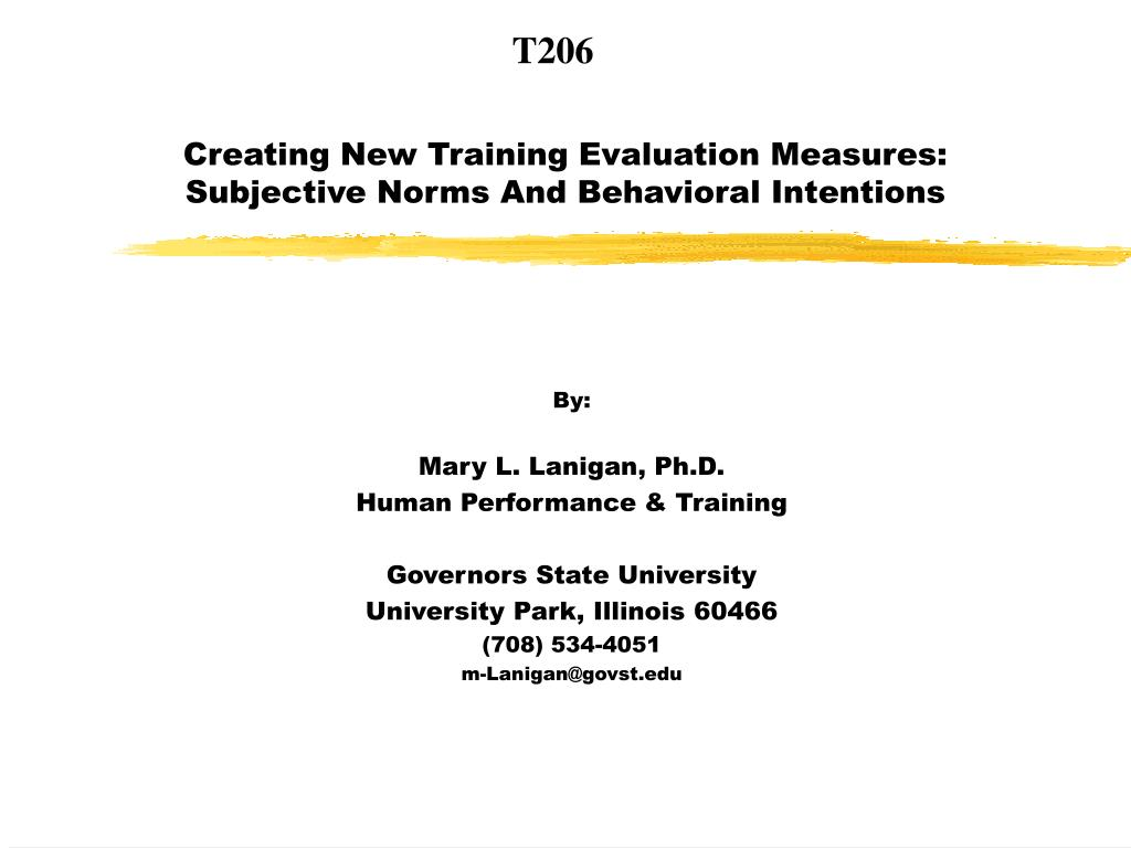 creating new training evaluation measures subjective norms and behavioral intentions l.