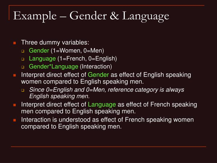 Example – Gender & Language