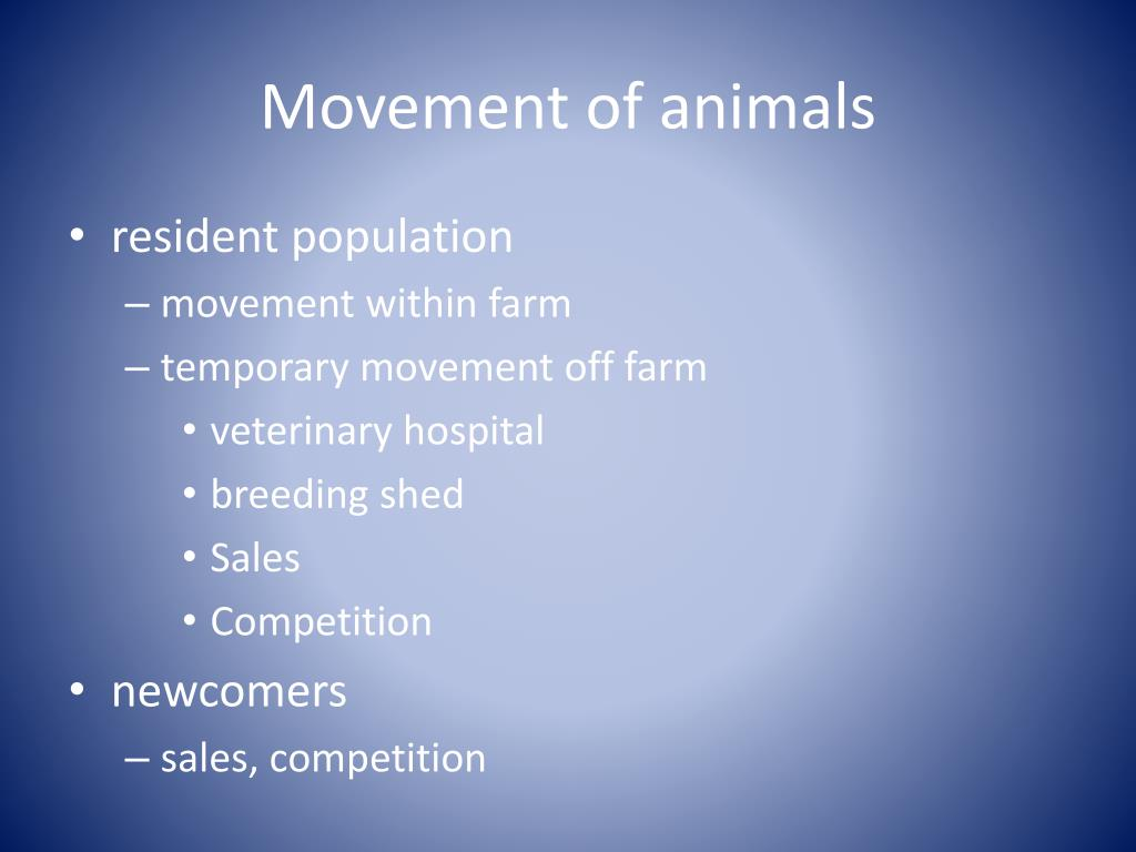 Movement of animals