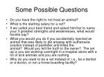 some possible questions
