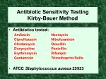 antibiotic sensitivity testing kirby bauer method