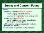 survey and consent forms