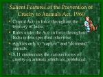 salient features of the prevention of cruelty to animals act 1960