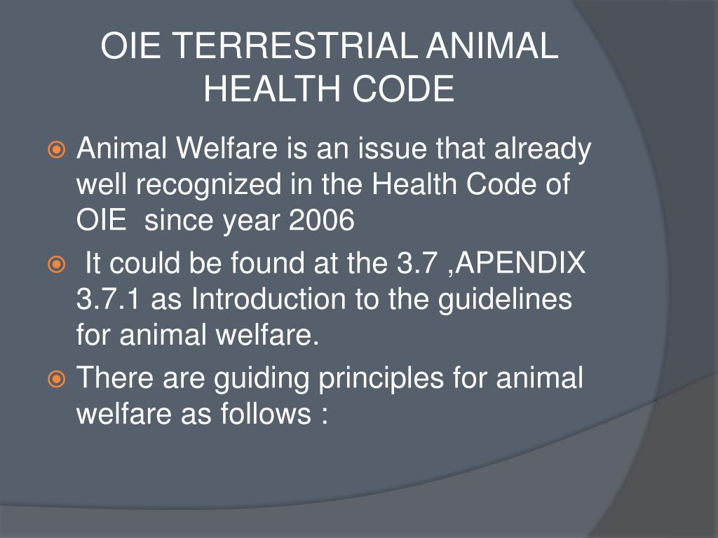 OIE TERRESTRIAL ANIMAL HEALTH CODE