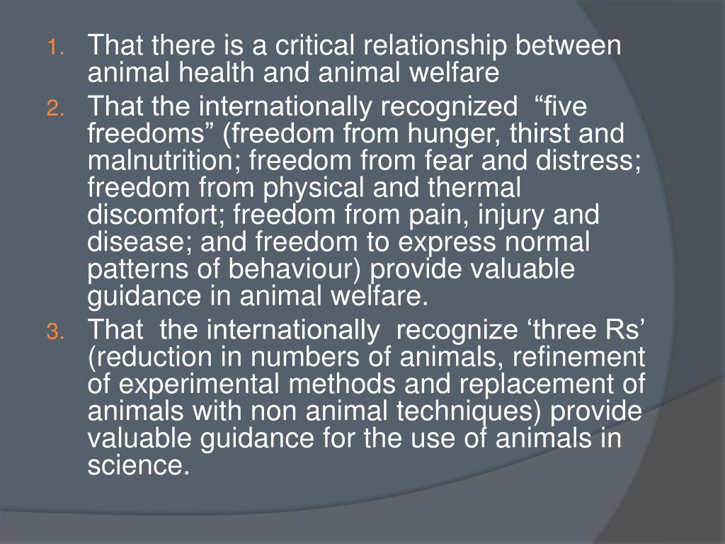 That there is a critical relationship between animal health and animal welfare