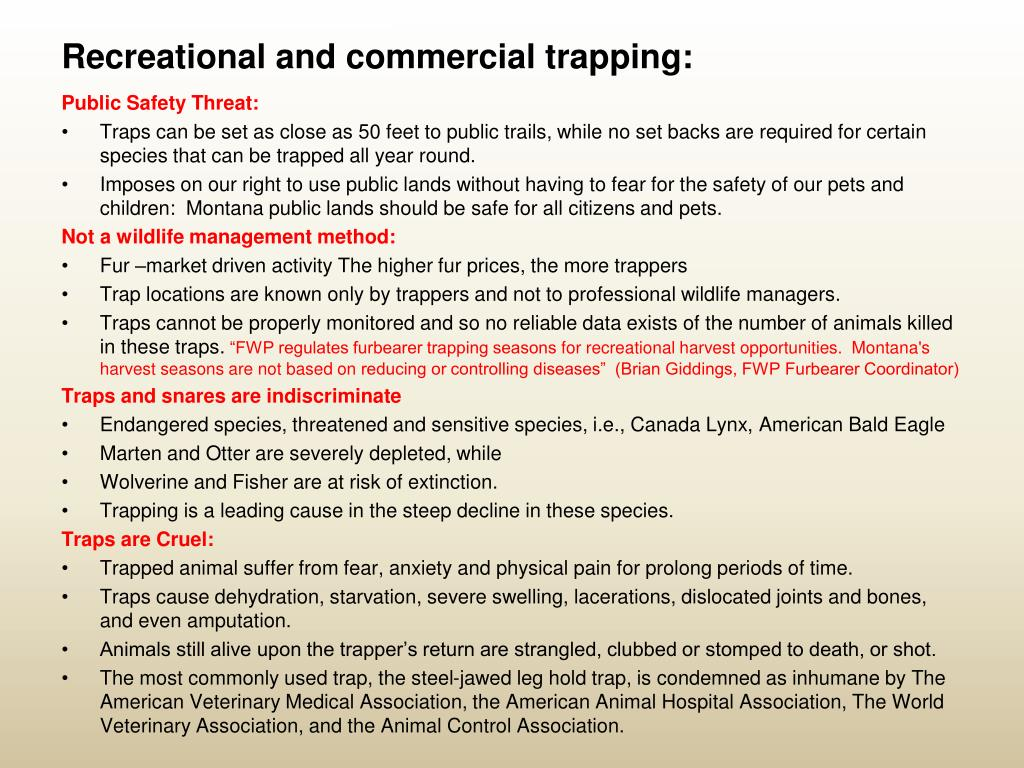 Recreational and commercial trapping: