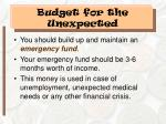 budget for the unexpected