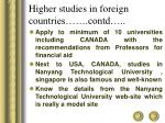 higher studies in foreign countries contd