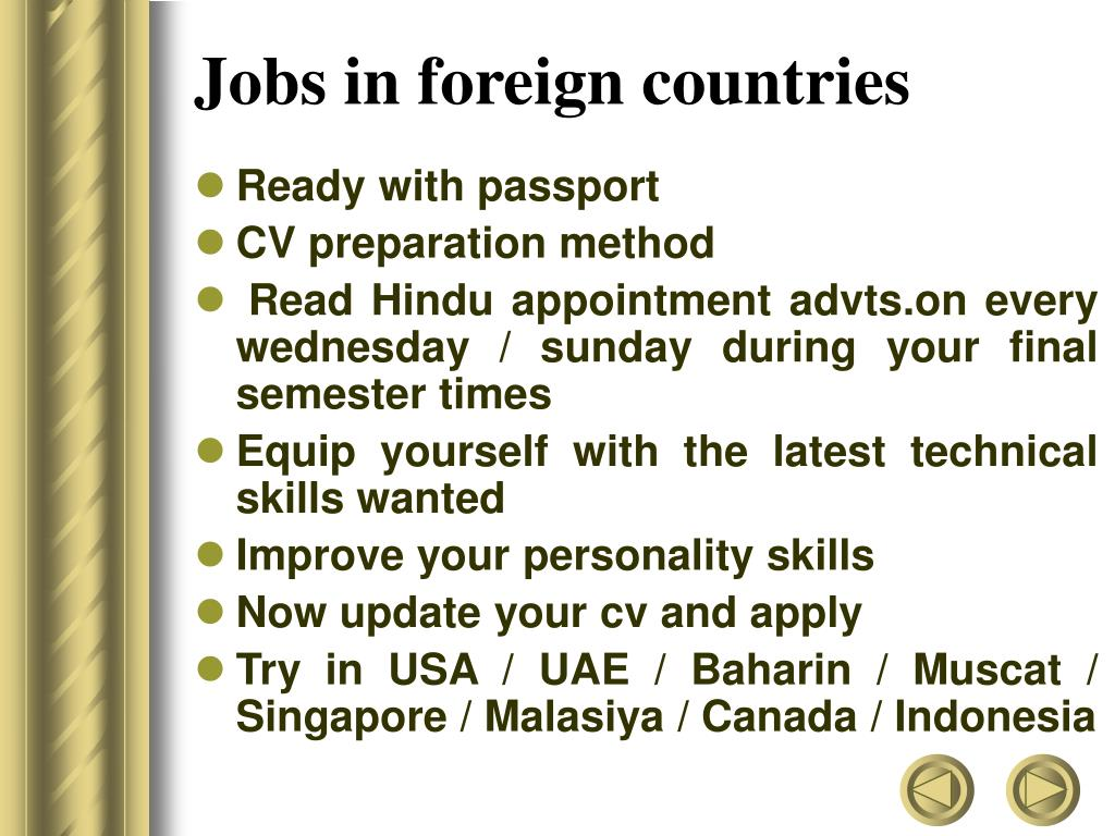 Jobs in foreign countries